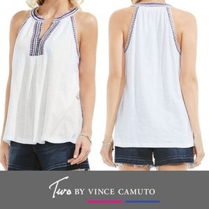 Two by Vince Camuto Embroidered Slub Cotton Tank